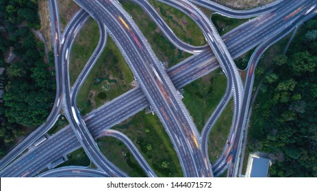 Aerial interchange with a top view of the city of Kiev. Photos from the drone transport infrastructure in Kiev. Abstract concept view from a bird's eye view.
