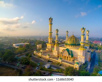 Aerial Islamic Centre Mataram, Lombok, Indonesia at sunrise