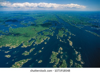 Aerial of islands of Georgian Bay, Ontario, Canada