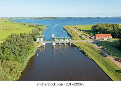 Aerial from the Kadoeler bridge at the Zwarte Meer in the Netherlands - Shutterstock ID 2017623395