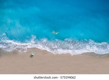 Aerial of Kathisma beach in Lefkada island Greece