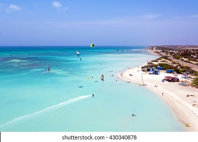 Aerial from kite surfing on Aruba island in the Caribbean Sea