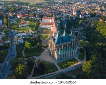 Aerial Kutna Hora town cityscape, vineyard, gothic church