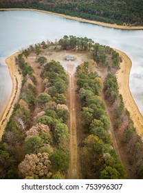 Aerial of lake in Old Bridge New Jersey