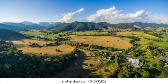 Aerial landscape of Australian countryside at sunset. Mitta Mitta Valley, Victoria, Australia