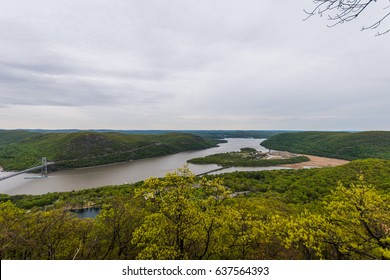 Aerial Landscape from Bear Mountain Summit and Hudson River in Upstate New York