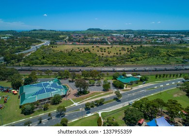 Aerial landscape of Campbelltown and HJ Daley Library in New South Wales, Australia
