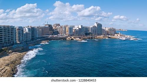 Aerial landscape of the coast at Sliema, Malta