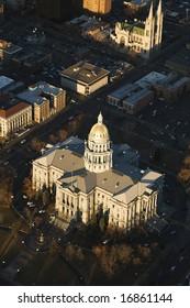 Aerial landscape of Denver, Colorado's State Capitol building, United States.