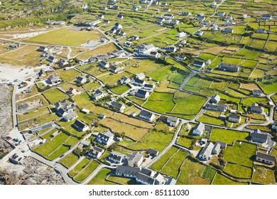 Aerial landscape of Inisheer Island, part of Aran Islands, Ireland.