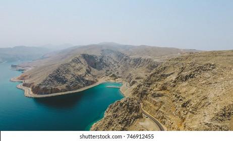 Aerial landscape Khasab, Musandam Peninsula, Oman