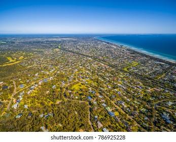 Aerial landscape of Mornington peninsula and Rosebud suburb, Melbourne, Australia