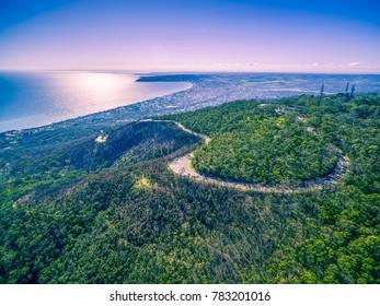 Aerial landscape of Mornington peninsula suburban area