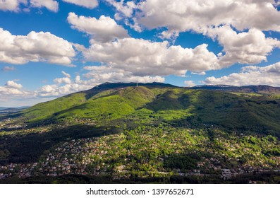Aerial landscape of mountain with clouds in the sky