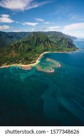 Aerial Landscape of Na Pali Coast in Kauai, Hawaii