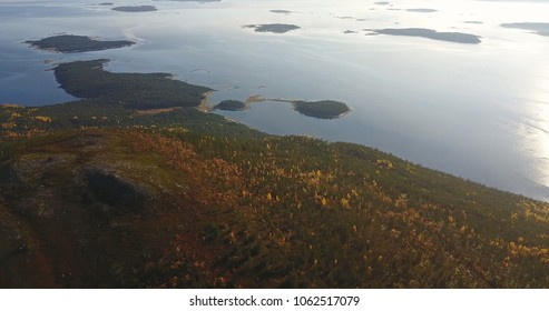 Aerial Landscape of a Nothern Autumn Nature. Kola Peninsula in Russia near the Kandalaksha town
