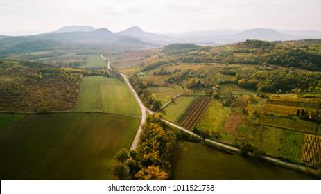 Aerial landscape over Balaton upland