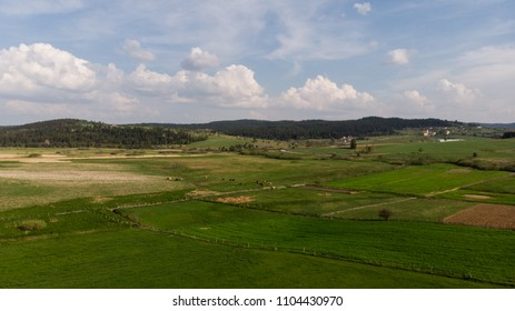 aerial landscape over the fields