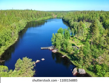 Aerial landscape over Swedish lake