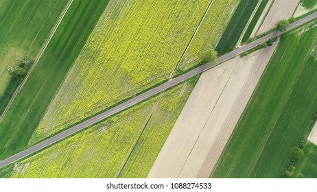 Aerial landscape- road between fields