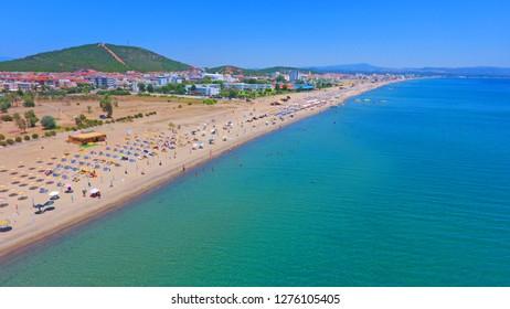Aerial Landscape of Sarimsakli Beach seen from touristic place at Ayvalik Balikesir in Turkey.