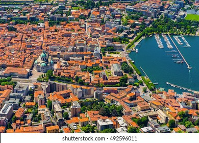 Aerial landscape. The small town of Como in Italy, Lombardia, from above. Aerial View of Como City in Italy, Europe. Town of Como,Italy, Europe. Como lake.