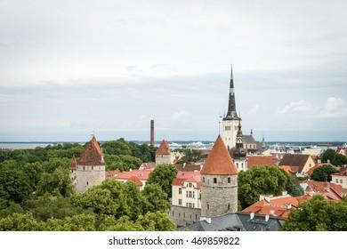 Aerial landscape of Tallinn old town in Estonia