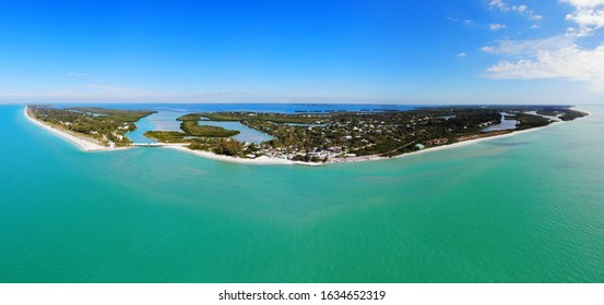 Aerial landscape view of Captiva Island and Sanibel Island in Lee County, Florida, United States