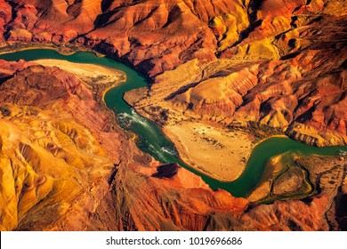 Aerial landscape view of Colorado river in Grand canyon, Arizona, USA