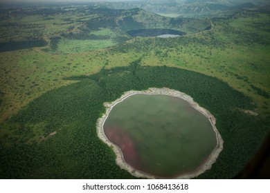 Aerial Landscape View of crater filled with water in Uganda in Africa