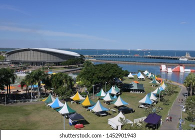 Aerial landscape view of Darwin Waterfront Precinct, a tourist area in the Northern Territory of Australia in Darwin City.