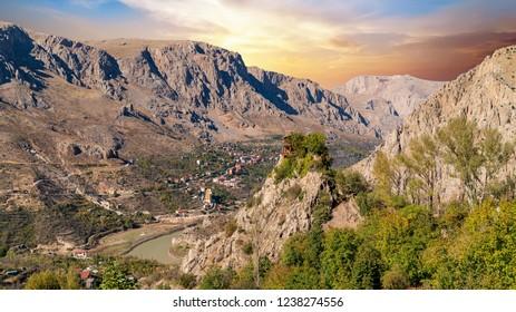 Aerial landscape view of Kemaliye town between valley in Kemaliye or Egin, Erzincan, Turkey