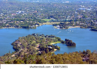 Aerial landscape view of Lake Burley Griffin in  Canberra the capital city of Australia located in the ACT, Australian Capital Territory, Australia.