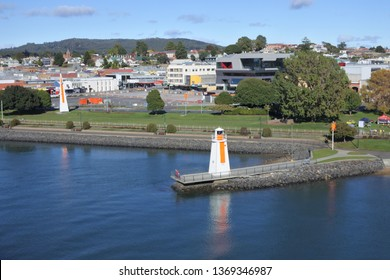 Aerial landscape view of Mersey River and Devonport city Tasmania Australia a major point of entry for visitors traveling across Bass Strait.
