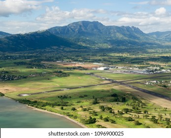 Aerial Landscape View of the Mountain Tropical Coastline Beach of Nadi Airport Runway, Fiji in the South Pacific