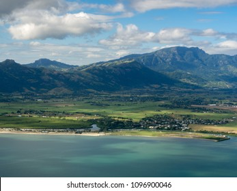 Aerial Landscape View of the Mountain Tropical Coastline Beach of Nadi, Fiji in the South Pacific