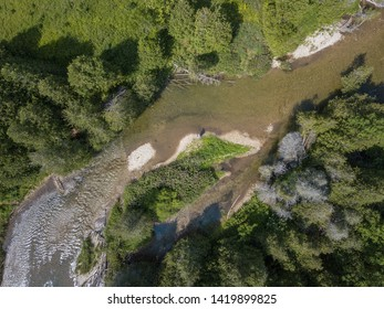 Aerial Landscape View Ontario Canada Fly Fishing for Brook Trout in Wild stream