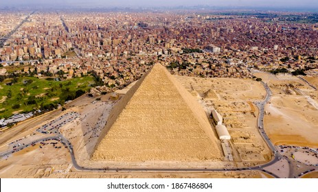 Aerial Landscape view of Pyramid of Khufu, Giza pyramids landscape. historical egypt pyramids shot by drone.