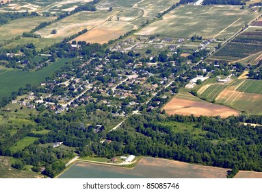 aerial landscape view of the small town of Copetown located in southern Ontario near Hamilton, Ontario Canada