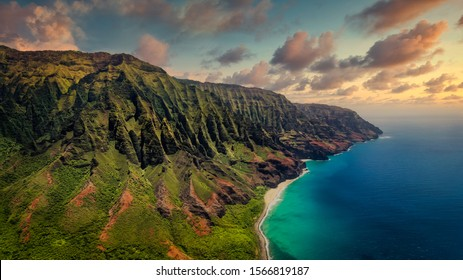 Aerial landscape view of spectacular Na Pali coast with dramatic sky, Kauai, Hawaii, USA
