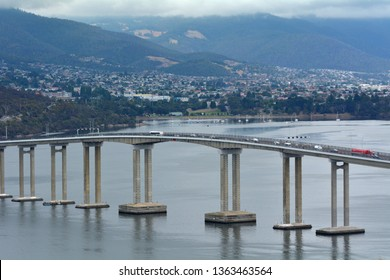 Aerial landscape view of Tasman Bridge spanning across Derwent River in Tasmania Australia