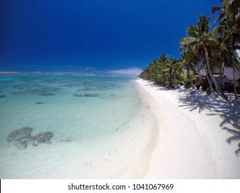 Aerial landscape view of Titikaveka coast in the south side of Rarotonga Island in the Cook Islands.