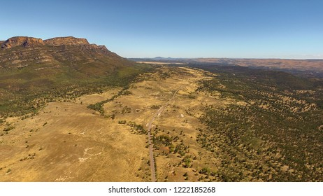 Aerial landscape view of the Western Escarpment of Wilpena Pound in the Flinders Ranges, South Australia.