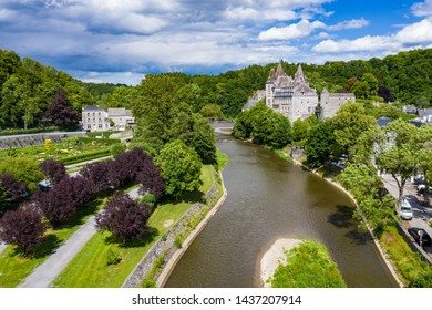 Aerial Landscape of the village of Durbuy with the village Castle in belgium Ardennes  during summertime
