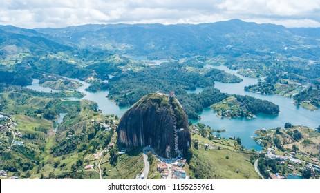 Aerial of large granite rock in Guatape, Colombia