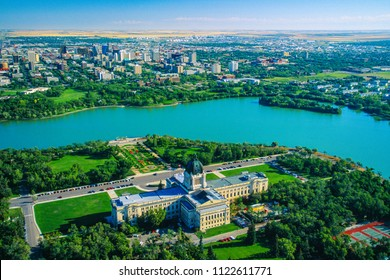 Aerial of Legislative Building, Regina, Saskatchewan, Canada