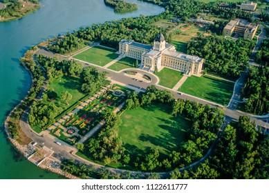 Aerial of Legislative Building, Regina, Saskatchewan, Canada