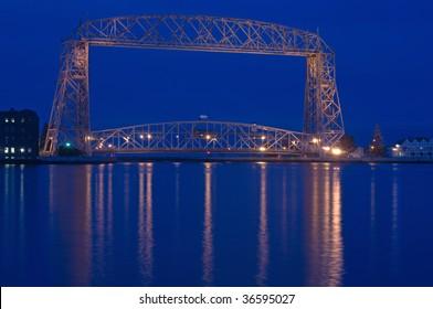 aerial lift bridge in Duluth on Lake superior at dusk