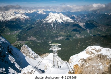 Aerial lift and panoramic view of Alps, Top of Germany, Zugspitze