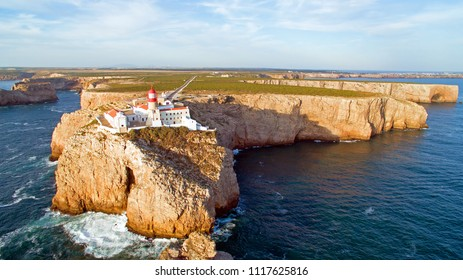 Aerial from the Lighthouse of Cabo Sao Vicente, Sagres, Portugal - Farol do Cabo Sao Vicente (built in october 1851)